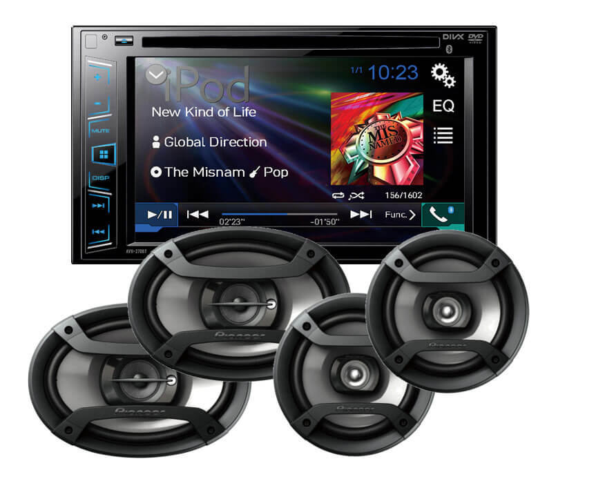 Pioneer Double Din With Bluetooth AND 4 Speakers